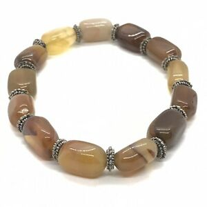 Natural Smooth Tumbled Agate Stone Stretch Bracelet Earth Tones Crystal Healing
