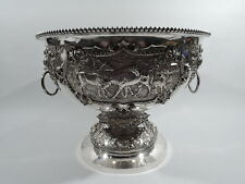 Victorian Bowl - Antique Wine Cooler Horse Centerpiece - English Sterling Silver