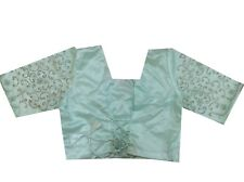 Om Vintage Indian Art Sik & Net Hand Embroidered Stitched Blouse Choli Green B68