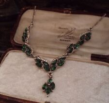 Vintage Clear & Turmaline Green Navette Crystal Drop Necklace Figaro Chain
