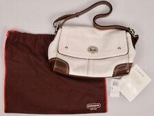 Coach HAMILTON SWTMA White & Mahogany Pebble LEATHER Handbag Purse Bag F13957