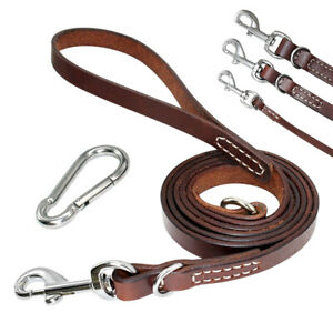5ft/6ft Leather Dog Leash with Carabiner Heavy Duty Pet Walking Training Lead