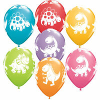 "X10 Dinosaur Cute Dino Latex Balloons Print Assorted Birthday Party Kids 11"""