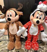 Disney Mickey Mouse Reindeer & Minnie Mouse Unicorn Christmas Plush Greeter Set