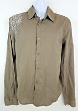 NEW Buffalo David Bitton Gray Long Sleeve Men's Button Up Shirt Size L Slim Fit