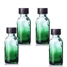 15 mL (1/2oz) Green Shaded Glass Boston Round Bottle *NEW* Qty 4 With Black Caps
