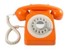 Gpo 746 Naranja Teléfono de escritorio de estilo de estilo retro y vintage con dial giratorio en funcionamiento