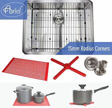"Ariel 26"" 15mm Radius Square Stainless Steel Single Bowl Kitchen Sink Combo 16G"