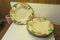 "Set of 5 Franciscan DESERT ROSE 8 1/2"" Rimmed Soup Bowls USA"