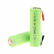 2PCS Rechargeable AA 2200MAH 1.2V Ni-MH NiMH Battery For Electric Shaver Razor
