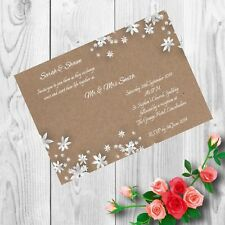 Personalised Handmade Wedding Invitations Invites Day Evening x 50 AWI10