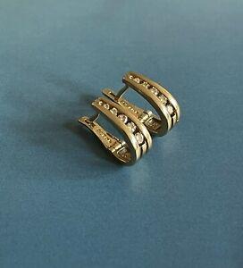 9ct Yellow Gold Diamond Earrings 0.35ct Channel Set Hoops 3gram