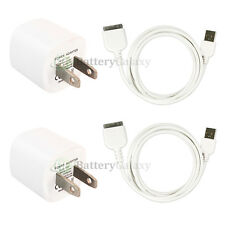 2X USB AC Power Adapter Wall Charger Plug+SYNC Cable iPod For iPhone 3GS 4 4S 4G