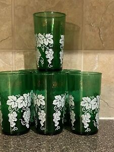"""Mid Century Modern Set Of 6  Drinking Glass With White Flowers  7"""" In Height"""