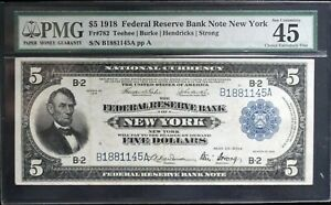 1918 $5 Federal Reserve Bank Note New York PMG 45 EPQ Fr. 782