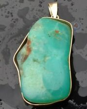 Vintage solid Heavy 17.5g 18k gold  Chrysoprase free form cabochon pendant RARE