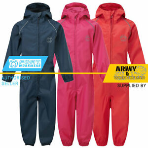 Kids Waterproof All In One Rain Puddle Suit Boys & Girls Hood Childs Coverall