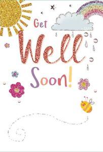 "Get Well Soon Greetings Card - Sunshine, Rainbow, Blossoms & Bee 7.75"" x 5.25"""