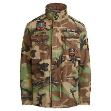 Polo Ralph Lauren Men M65 Military Army Patch Camo Field Jacket Coat M L XL 2XL