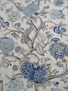 Scalamandre Fabric 'PONDICHERRY LINEN PRINT' DELFT 3 METRES 100% LINEN