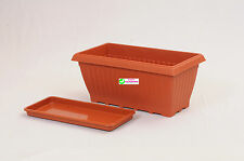 Easy Gardening Royal 3 Rectangle Planters + Trays - Plastic Pots (Pack of Three)
