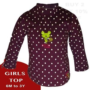 Baby Girls Plum Long Sleeve Top T-Shirt  100% Cotton 50% OFF RRP 3M-3Y [DT-21]