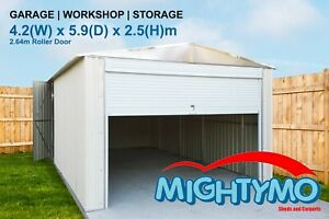 Garage Shed, 4.2(W)x5.9(D)x2.5(H)m, Garden, Storage, Workshop, Large Steel Shed