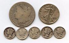 New listing 1880 Morgan Dollar,1943 Walking Half & 5 Mercury Dimes. Circulated. Lot #2024