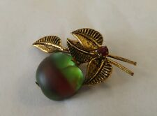 Vintage Brooch Pin SIGNED AUSTRIA Frosty GLASS Fruit Rhinestone Gold tone cherry