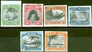 Niue 1932 set of 6 Imperf Proofs to 6d SG55-60 Fine MNH