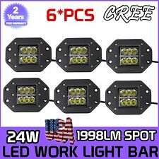 6X Flush Mount 24W CREE LED Pod Lights For Truck Jeep Off-Road ATV Square Lamp