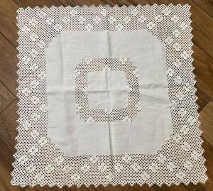 vintage battenburg lace tablecloth white 32x32 very pretty EUC Handmade? Cottage