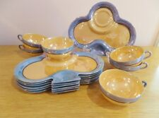 Vintage Lusterware Tea Cups and Snack Lunch Plate Set Iridescent Blue Gold Set 6