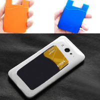 2X Adhesive Silicone Credit Card Pocket Sticker Pouch Holder Case For Cell Phone