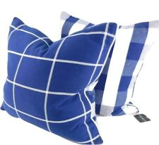 Ralph Lauren 2 Buffalo Plaid Check Throw Toss Pillows Blue White New feather