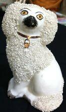 "Antique 4 3/4"" Stafgordshire Ware England Frit Poodle Dog Figurine"