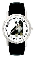 Bernese Mountain Puppy Dog Paw Mens Ladies Genuine Leather Wrist Watch SA2154