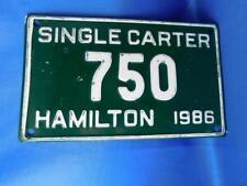 ONTARIO LICENSE PLATE HAMILTON SINGLE CARTER 1986 750 CANADA SHOP GARAGE SIGN