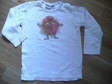 LA-Shirt Weiss 98/104 Häkelapplikation flauschiges Monster Unikat - Handmade
