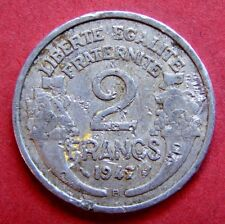 VINTAGE COIN 1947 FRANCE ALUMINIUM 2 FRANCS 70 YEARS OLD RARE & COLLECTABLE