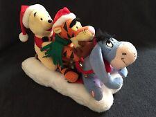 Gemmy Singing & Motion Disney Pooh Tigger & Eeyore Christmas Sledding