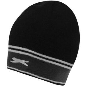Slazenger Beanie Hat Knitted Wool Cap Hat Beanie One Size Black New