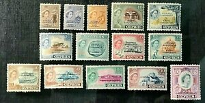CYPRUS Sc#183-96 missing #197 1960 Cyprus Independence O/P in blue MLHOGVF 11-22