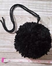 Black large 3 inch 4 ply yarn pom pom for hats crochet knit handmade new