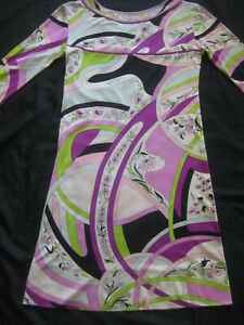 Vintage PUCCI Emilio  signed thru out SILK JERSEY Dress Chinois SWIRLS FLORAL