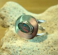 Opal Ring Silber 925 Designerring Größe flexibel Doppelband Spirale neu wow R20