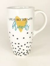 Clay Art Life is Better With Friends Ceramic Coffee Mug 16 oz Latte cup