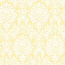 Wallpaper Yellow and Eggshell White Damask