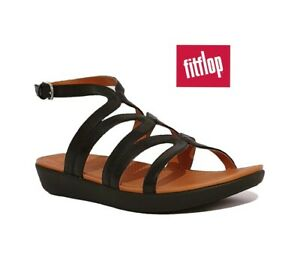 FITFLOP STRATA GLADIATOR SANDALS RRP £85 BLACK GENUINE LEATHER WOMENS LADIES