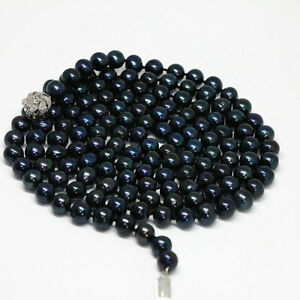 Charming 8-9mm Black Nearly Round Freshwater Cultured Pearl Necklace 18-48''